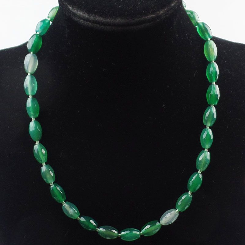 (1 Strand/lot) Wholesale 1Strand Hand-knitted Faceted Green  Stone Necklace 18 inch 10x7mm SAM_9658