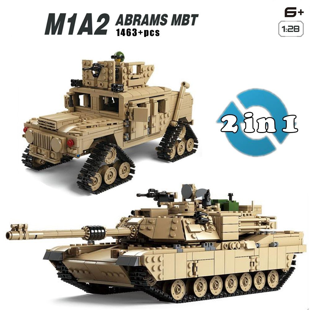 Military M1A2 Tank Collection Series Trans Toys 1:28 ABRAMS MBT HUMMER Model Building kits Blocks compatible with lego