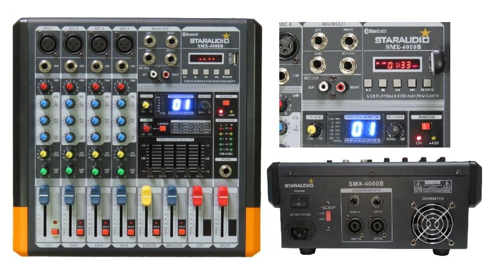 STARAUDIO Pro PA DJ Stage 4 Channel 2000W Amplifier Powered MP3 Bluetooth USB SD 16 DSP Mixer SMX-4000B