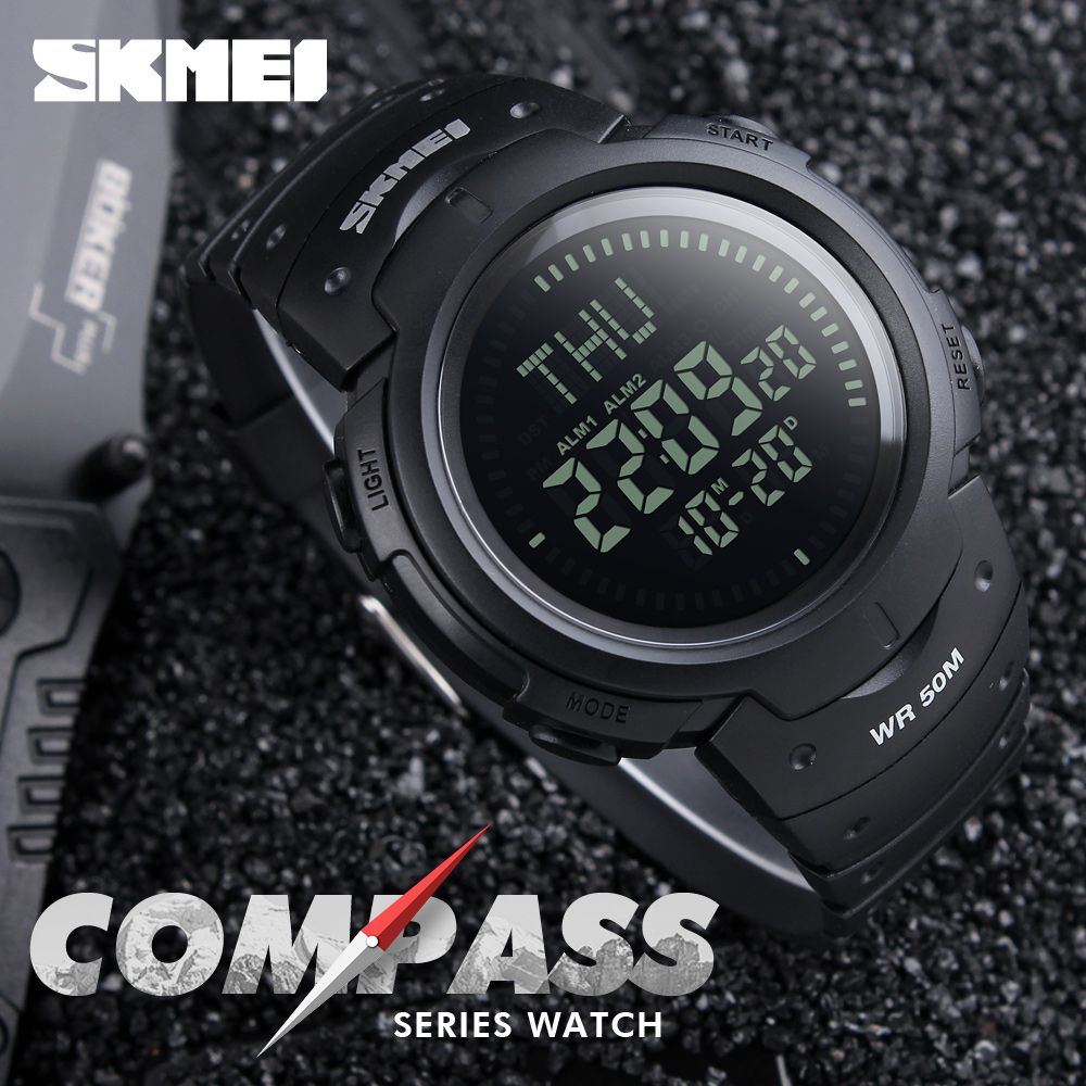 2017 SKMEI Outdoor Sports Compass Watches Hiking Men Watch Digital LED <font><b>Electronic</b></font> Watch Man Sports Watches Chronograph Men Clock