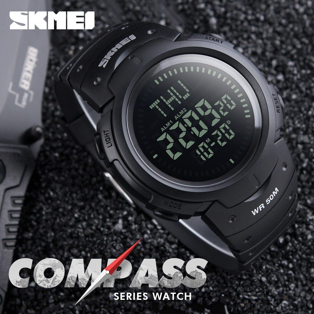 2017 SKMEI <font><b>Outdoor</b></font> Sports Compass Watches Hiking Men Watch Digital LED Electronic Watch Man Sports Watches Chronograph Men Clock