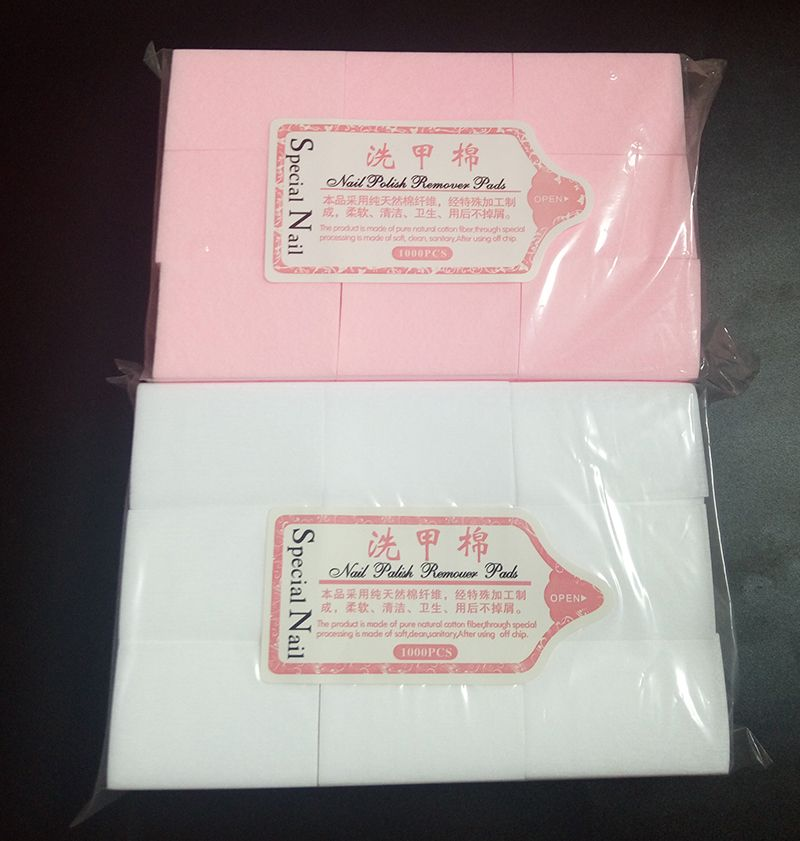 1000pc/pack Thick Solid Durable Gel Nail Polish Remover Lint-Free Wipes Cotton Pad Nail Art Tools Nail Napkins  Pink