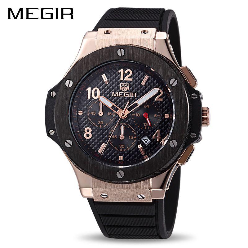 <font><b>MEGIR</b></font> Original Quartz Men Watch Big Dial Silicone Sport Military Watches Clock Men Chronograph Wristwatch 3002 Relogio Masculino