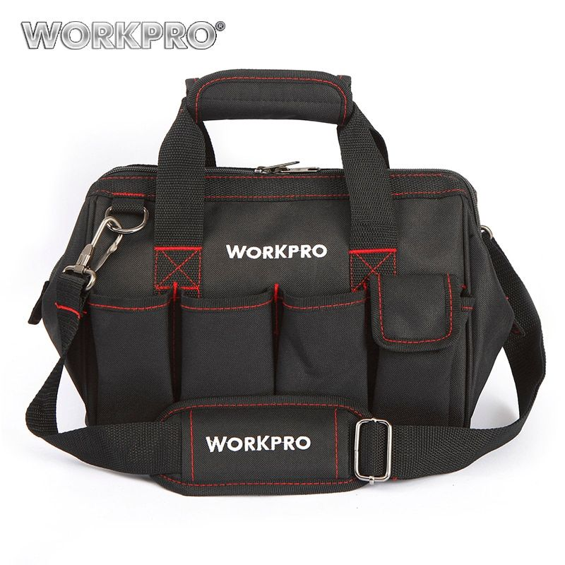 WORKPRO 12 Tool Bags 600D Close Top <font><b>Wide</b></font> Mouth Electrician bags Small Bags
