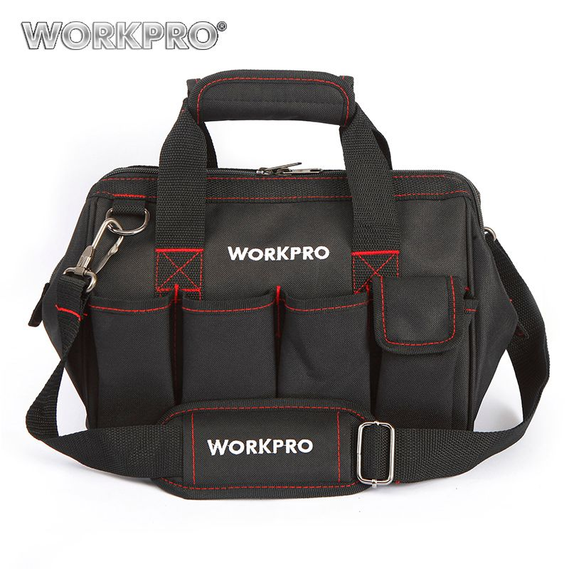 WORKPRO 12 Tool Bags <font><b>600D</b></font> Close Top Wide Mouth Electrician bags Small Bags