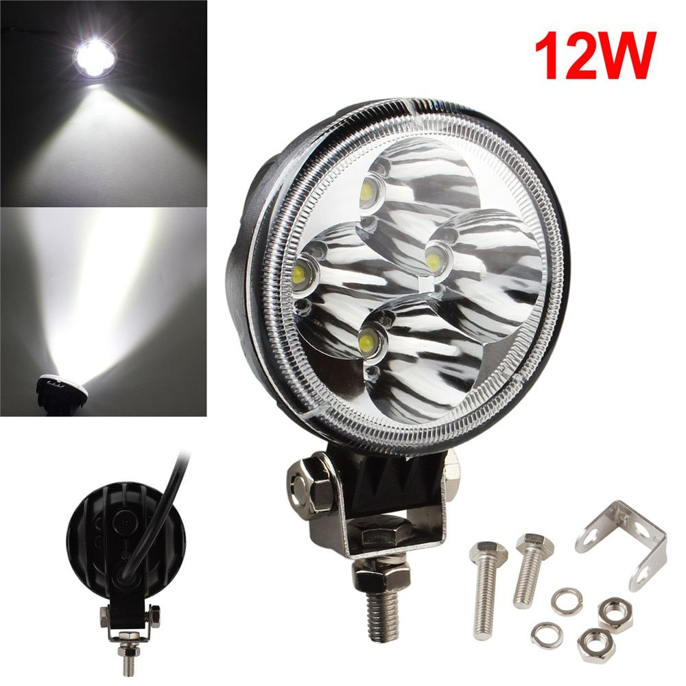 3 Inch 12V / 24V 780LM 12W 6500K Waterproof Round Offroad LED Work Light Waterproof Motorcycle Lamp
