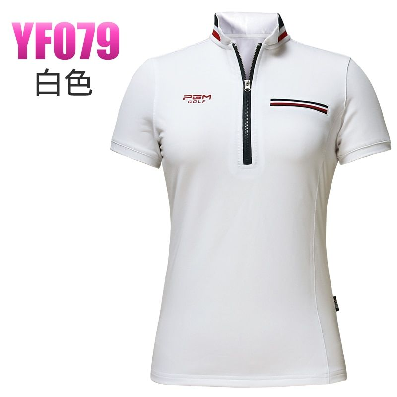 brand golf shirt lady summer outdoor golf short-sleeve T shirt girl golf apparel quick dry slim sports wear white and navy tops