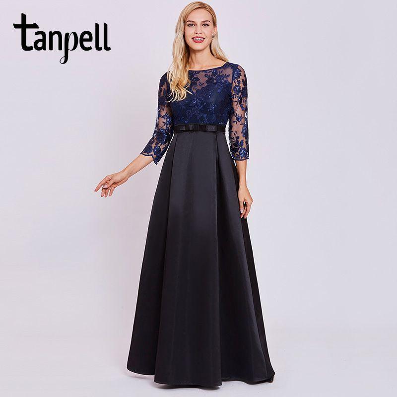 Tanpell lentejuelas encaje vestido de noche largo oscuro azul real completo scoop mangas piso de longitud una línea de vestido de las mujeres de noche formal vestidos