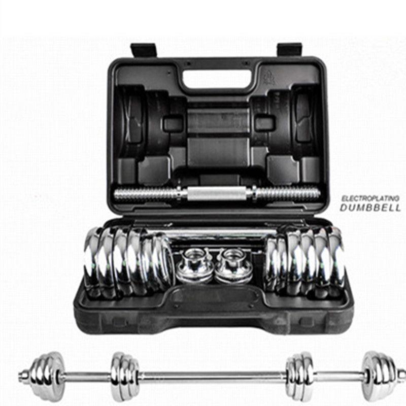 Kansoon 15 kg Silber Galvanisieren Einstellbar Gewichte Mann Hantel Set Mit Tragetasche Barbell Home Gym Fitness Training Wir