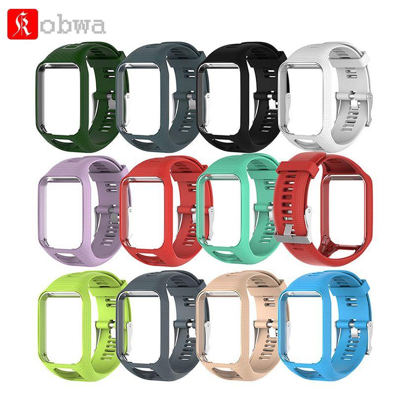 Kobwa Bracelet pour TomTom 2 3 Série Bracelet en Silicone remplacement Wrist Band Sangle Pour TomTom Runner 2 3 GPS montre