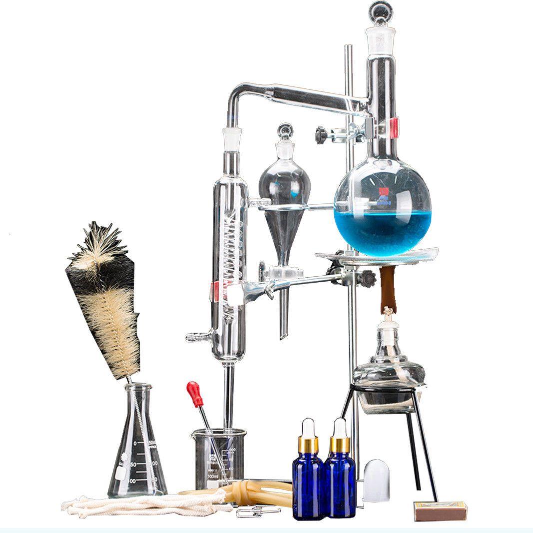 24 stücke Neue 500 ml Labor Ätherisches Öl Destillation Gerät Wasser Distiller Purifier Glasgeschirr Kits w/Kondensator Rohr Glaskolben