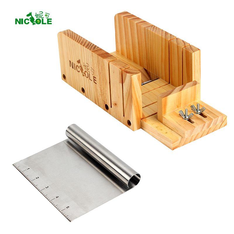 Nicole Savon Outils De Coupe Ensemble 2 Réglable Bois Pain Cutter Box & Métal lame de coupe Fabrication De Savon Fournitures