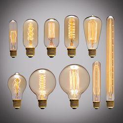 Ретро лампочка эдисона E27 220 В 40 Вт ST64 A19 A60 G80 G95 T10 T45 T185 нить накаливания лампа Винтаж ламп Эдисона