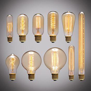 Rétro Edison Ampoule E27 220 V 40 W A19 A60 ST64 T10 T45 T185 G80 G95 filament ampoule À Incandescence vintage ampoule Edison Lampe