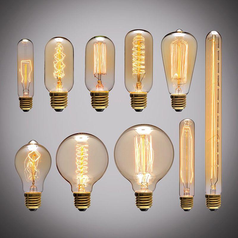 Retro Edison Light Bulb E27 220V 40W A19 A60 ST64 T10 T45 T185 G80 G95 filament ampoule vintage Incandescent bulb Edison Lamp