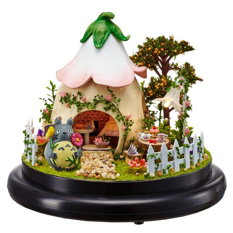 Bricolage Cottages boîte à musique saint valentin cadeau à petite amie à la main dessin animé LED maison avec couverture de poussière Figurines cadeau d'anniversaire