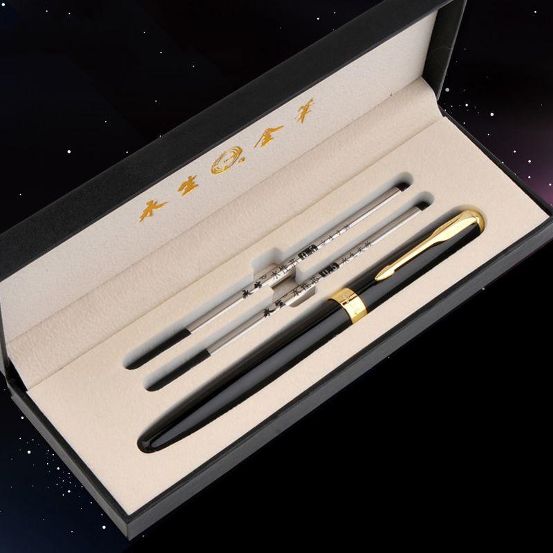 Livraison gratuite WingSung stylo à bille en métal de luxe avec recharge d'encre noire 0.5mm stylo à bille Signature stylo pour cadeau de noël