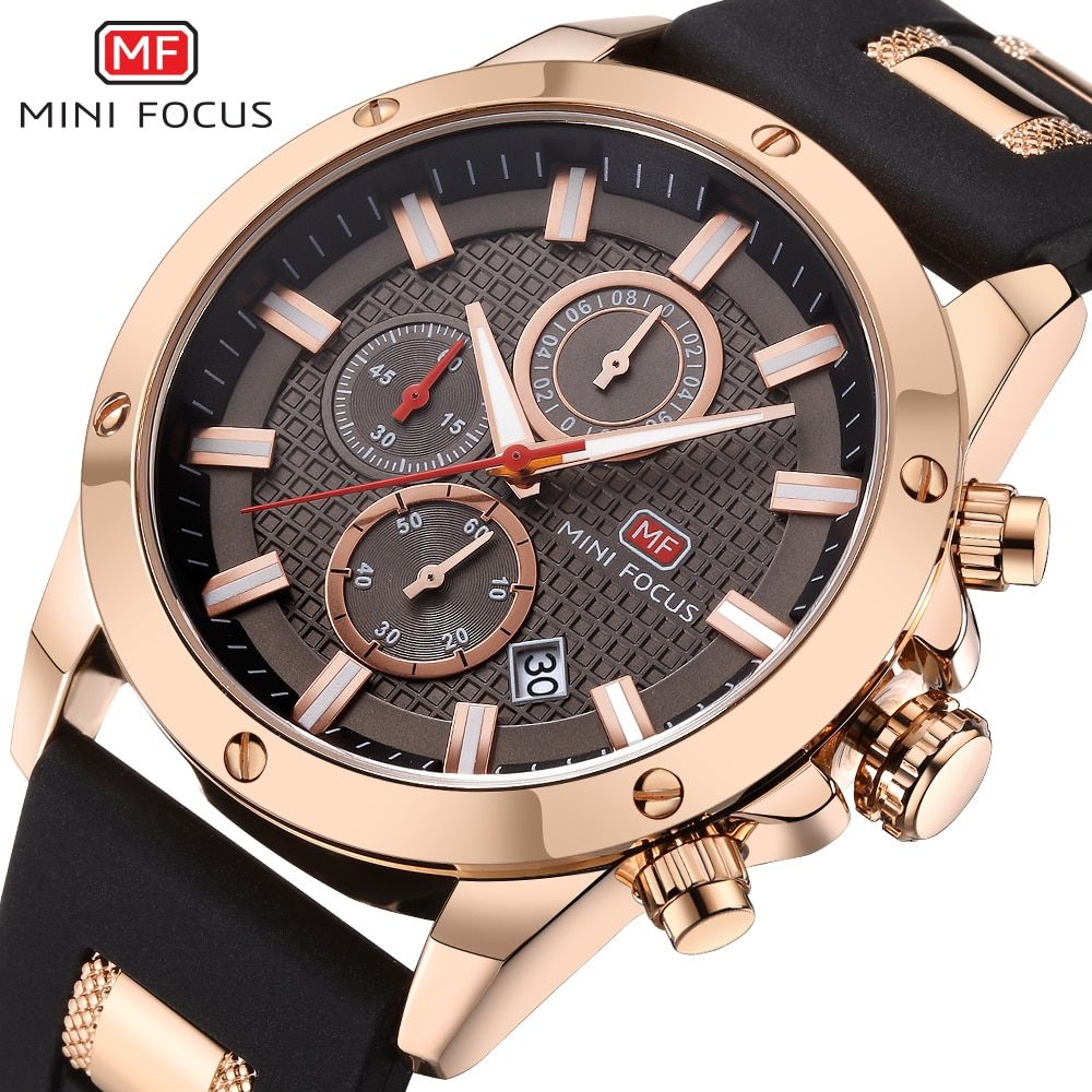 Mens Watches Top Luxury Brand MINIFOCUS Sports Watch Men Military Leather Quartz-watch Waterproof Male Clock Relogio Masculino