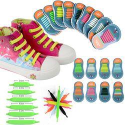 12 unids/lote niños no tie Cordones para zapatos para todos sneakers Correr calzado deportivo Encaje Niñas Niños niños elásticos del zapato Encaje 11 11