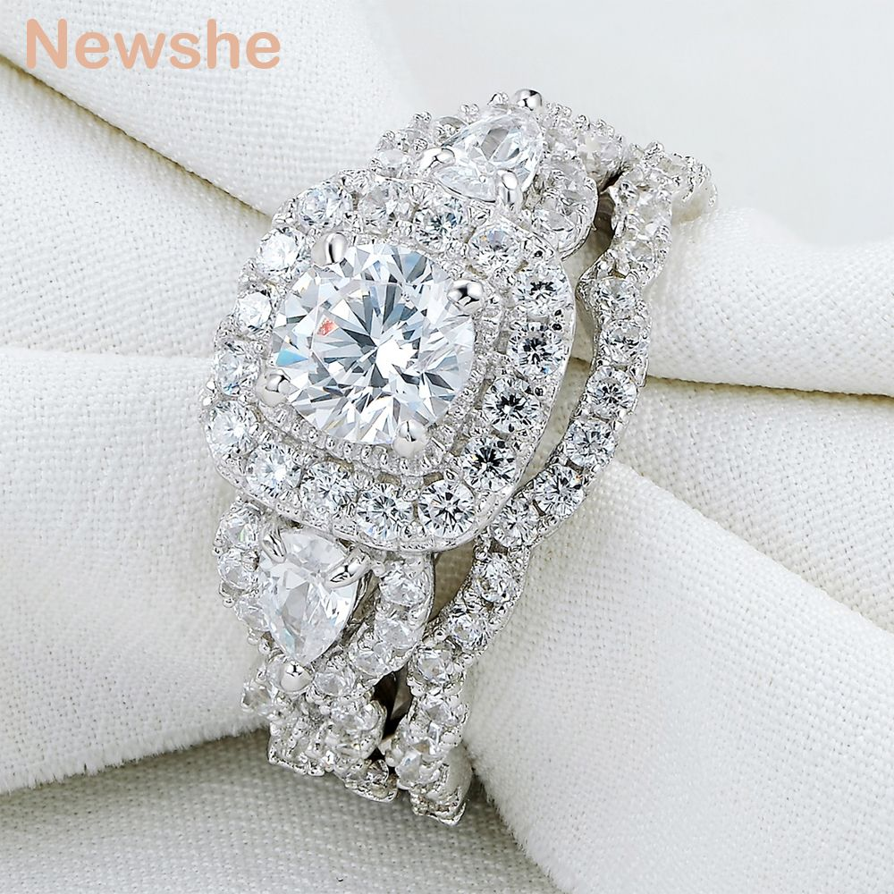 Newshe 2 Pcs Genuine 925 Sterling Silver Halo Wedding Ring Sets Engagement Band Gift Jewelry For Women Size 5-10 Ship From US