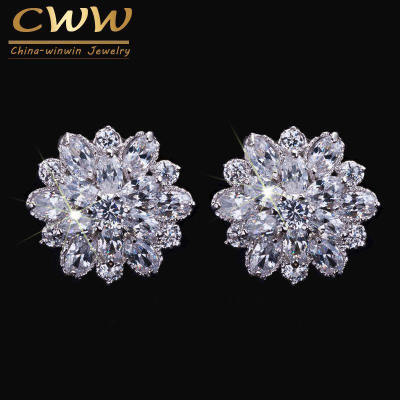 CWWZircons Design Elegant Cubic Zirconia Jewelry Silver Color Sparkling CZ Stones Big Flower Stud Earrings For Women CZ220