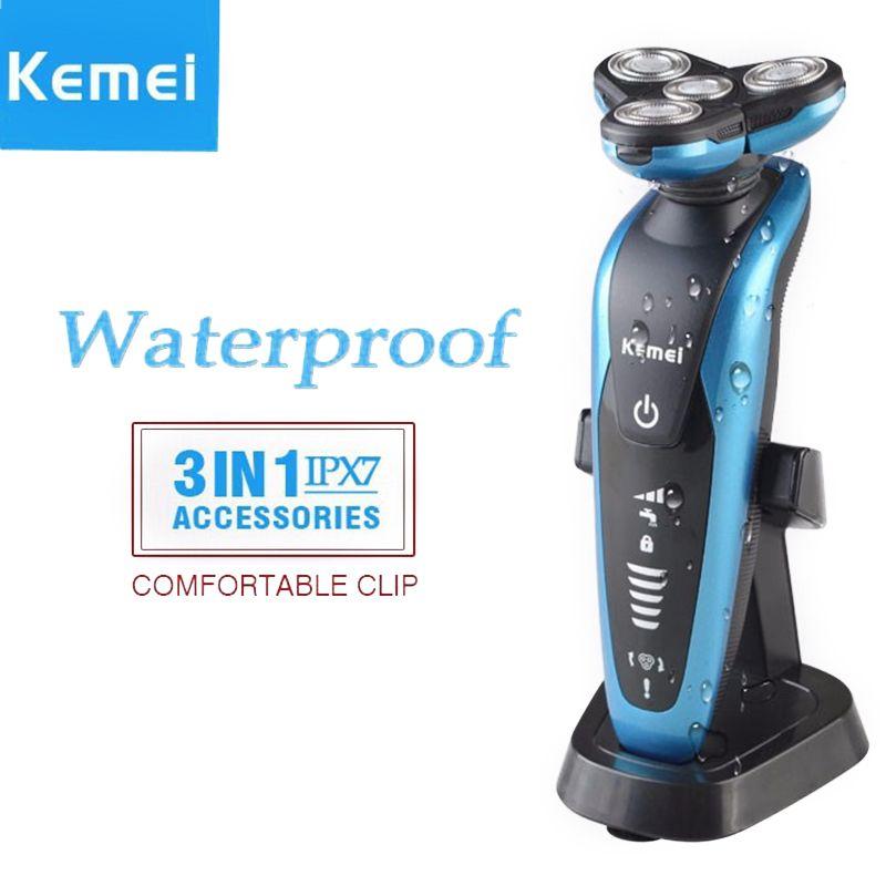 Kemei 3 dans 1 lavable rasoir hommes rasage machine nez tondeuse barbeador 3d barbe rasoir rasoir