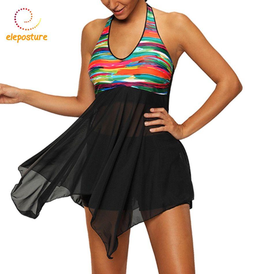 Tankini Set Plus Size Swimwear Women Swimsuit 2017 Tankini Swimsuits Large Size Swimming Suit Bathing Suit Skirt Dress Beachwear