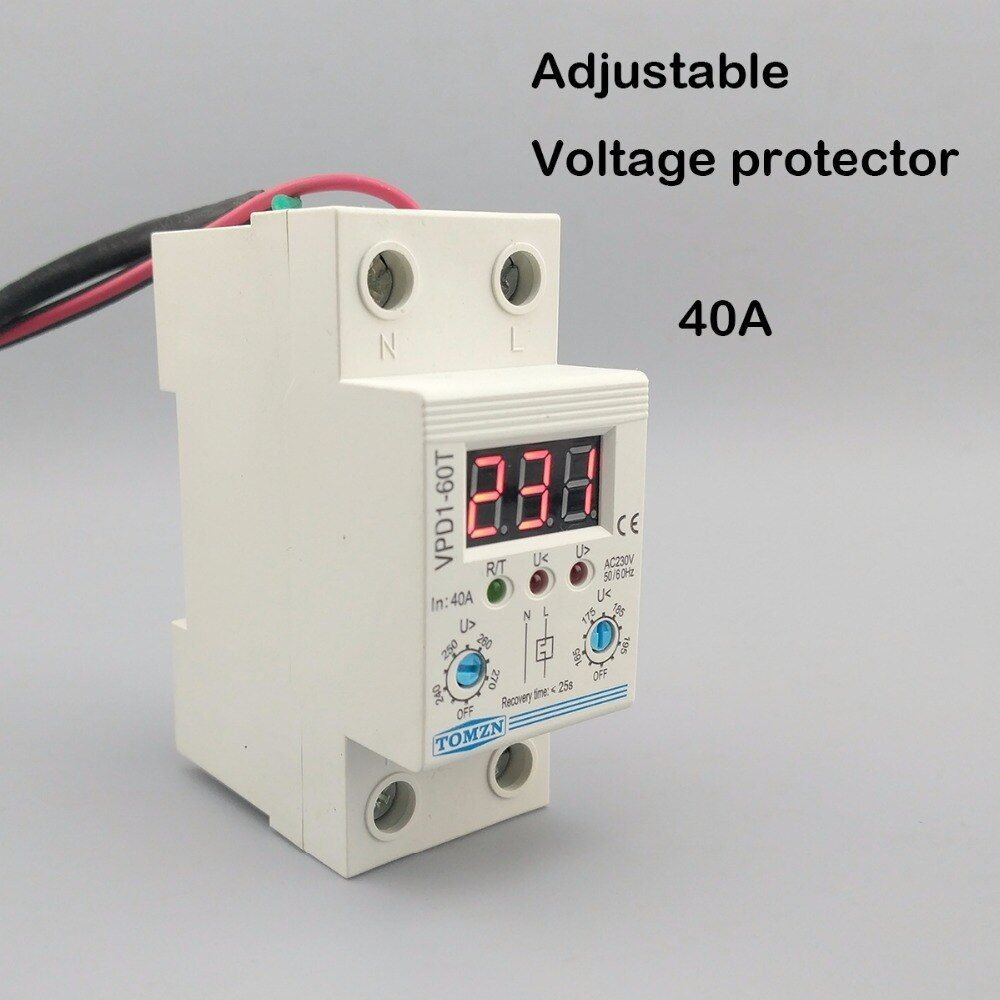 40A 220V adjustable automatic reconnect over voltage and under voltage protection <font><b>device</b></font> relay with Voltmeter voltage monitor
