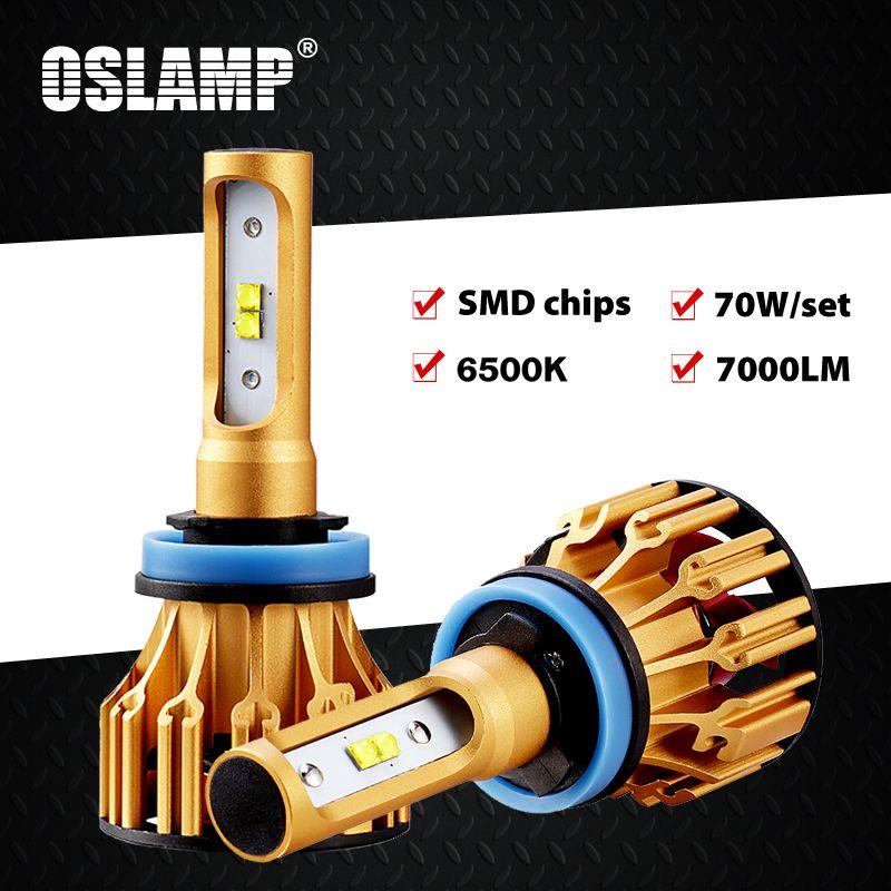 Oslamp T6 Série H4 Led Phare pour Voiture 6500 K SMD Puces 9005/HB3 9006/HB4 Led H7 Voiture Ampoules 70 W Tout-en-un H11 Led Brouillard Lampes 2x