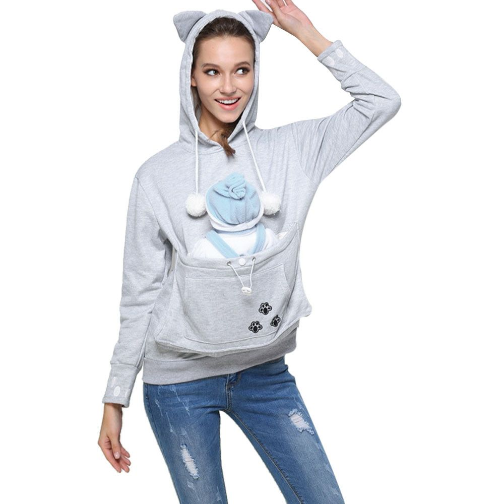 USPS Women's Cute Hoody Kangaroo Pet Dog Cat Holder Carrier Coat Pouch Large Pocket Hoodie Top Hooded Tops Skateboarding Hoodies