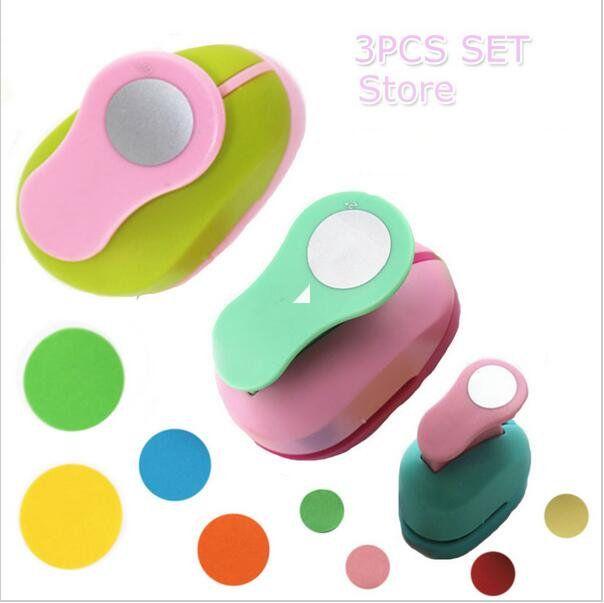 3 PCS (5 cm, 3.8 cm, 2.5 cm) forme Ronde poinçon de métier set enfants manuel DIY trou poinçons cortador de papel de scrapbook Cercle poinçon