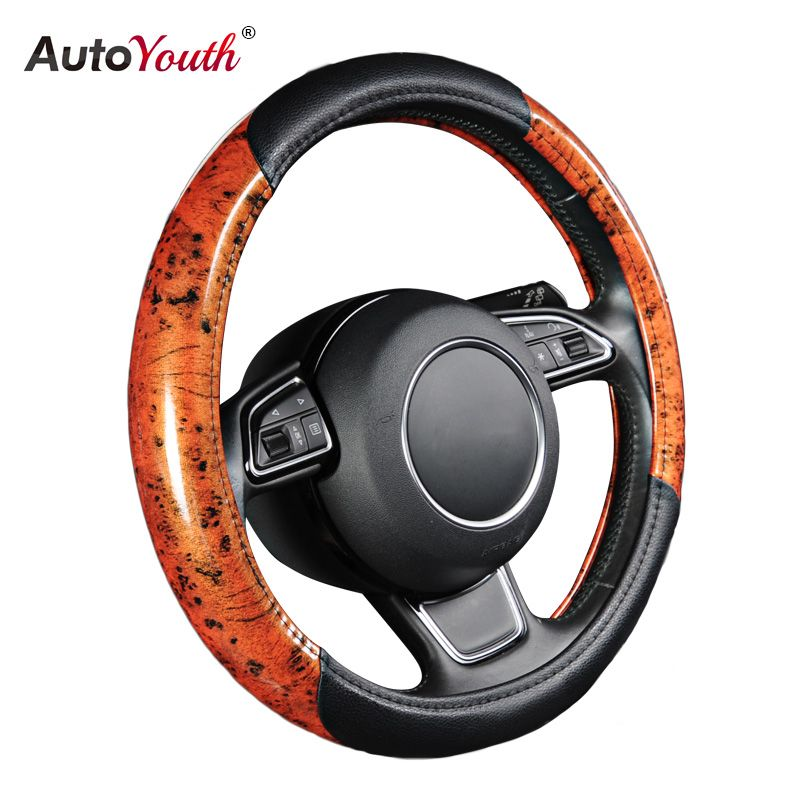 AUTOYOUTH New Car Steering Wheel Cover Black Lychee Pattern Middle Splice 2 Sections Wood Grain Fits 38cm/15 inch Diameter
