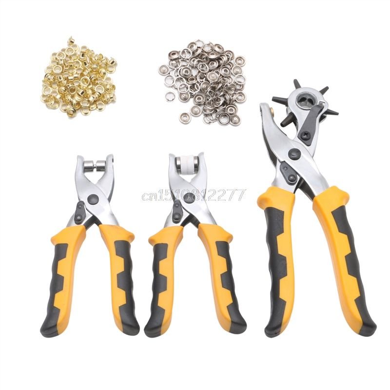 3Pcs Leather Hole Belt Punch Plier Duty Hand Craft Tool Set With 200 Grommets #H0VH# Drop shipping