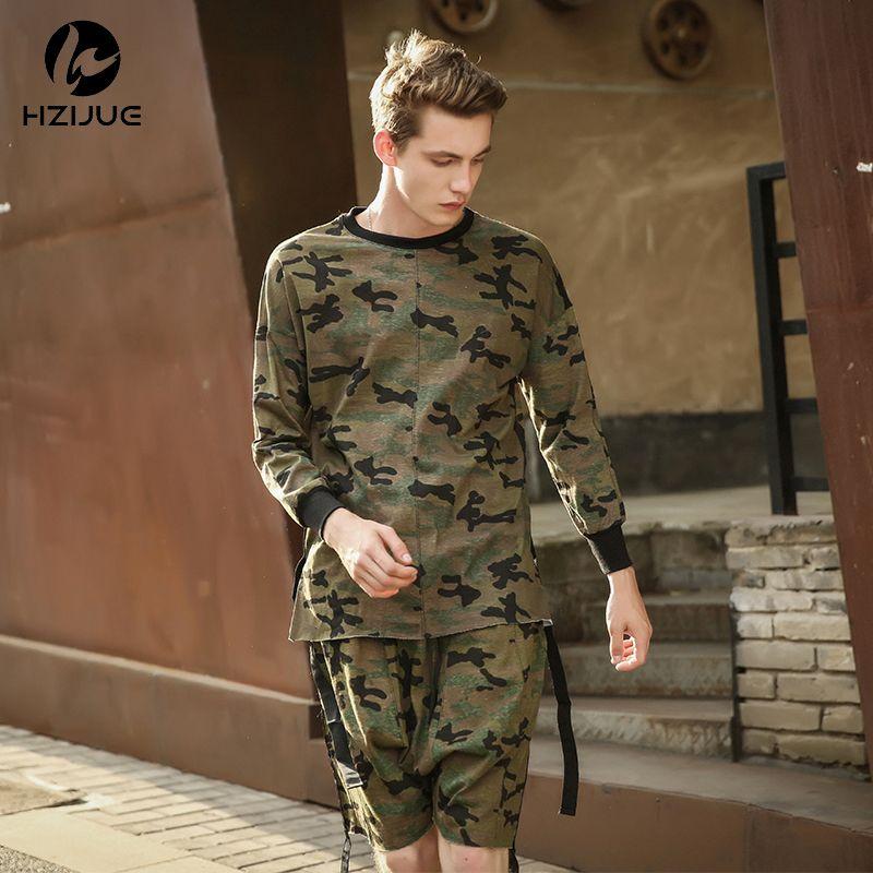 Hzijue 2018 хип-хоп Джастин Бибер одежда Уличная одежда KPOP городской одежды мужские Длинные рукава удлиненная футболка SWAG одеть камуфляж