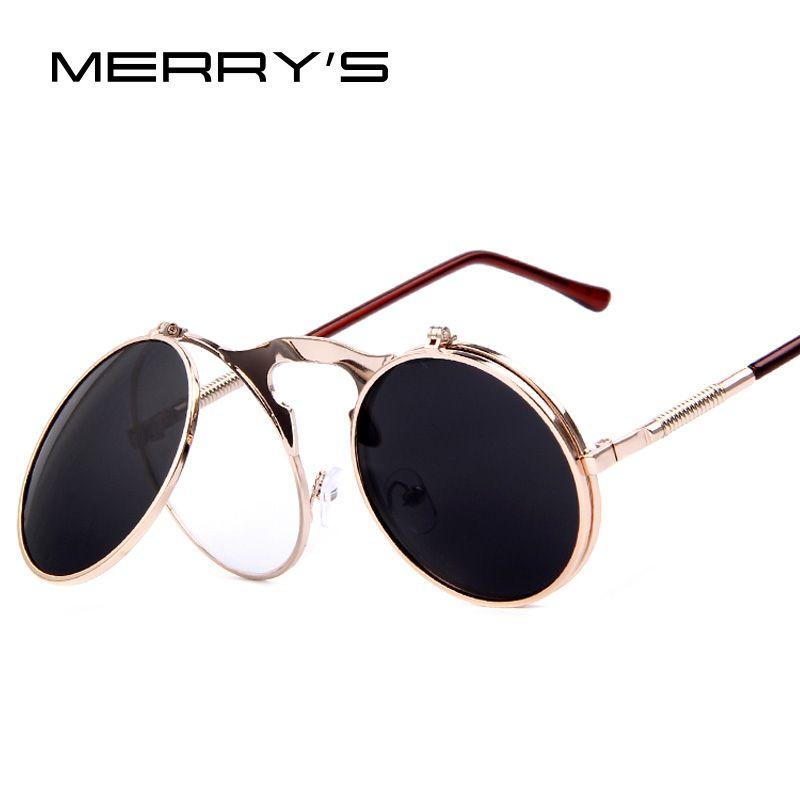 MERRY'S VINTAGE STEAMPUNK lunettes de soleil rond Designer steam punk métal femmes revêtement lunettes de soleil rétro cercle lunettes de soleil