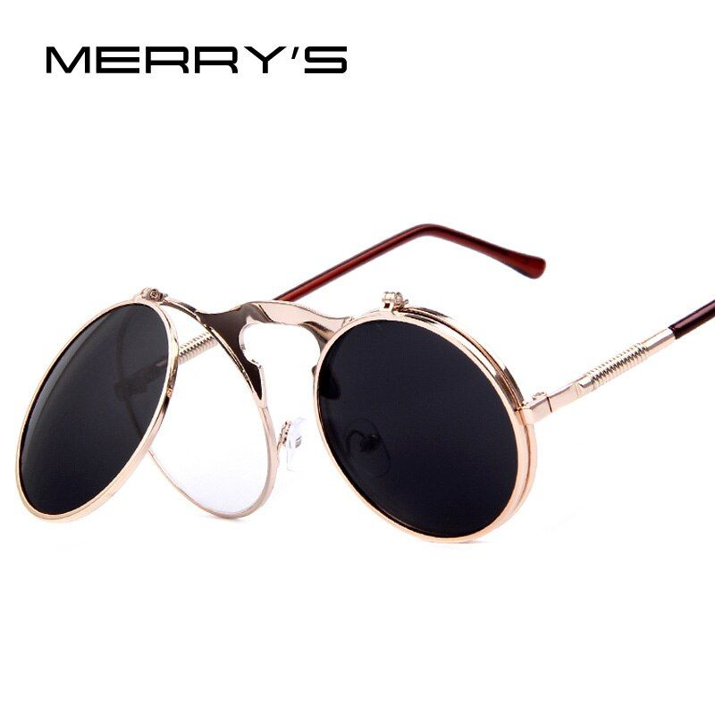 Merry Винтаж стимпанк Солнцезащитные очки для женщин круглый дизайнер стимпанк из металла Для женщин покрытие Солнцезащитные очки для женщин...