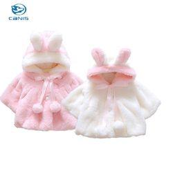 Musim dingin Bayi Perempuan Bulu 3D Kelinci Telinga Bulu Hangat Coats Snowsuits Jaket Snowsuits Pakaian Luar Jubah Pakaian 0-4Y Pink & Putih