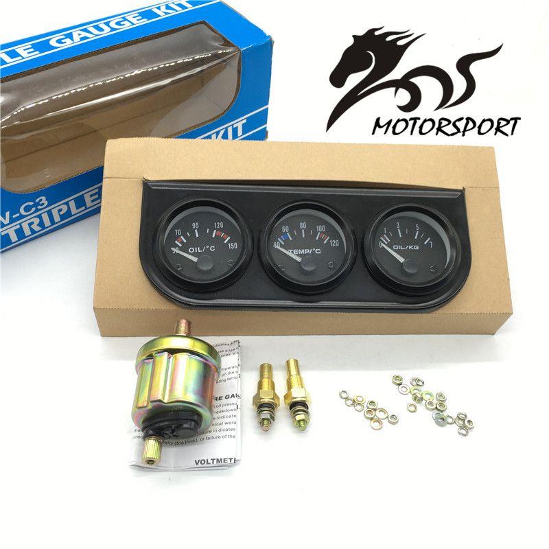 52mm Triple kit Oil Temp Gauge + Water Temp Gauge + Oil Pressure Gauge with Sensor 3in1 Car Meter