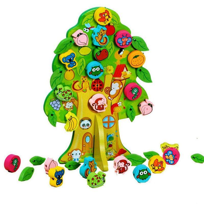3D DIY Juguete de Madera Colorida Animal Fruit Tree House Ensartar Cuentas de Regalo de Cumpleaños Del Bebé Niños Favor Juguetes Educativos y de Aprendizaje