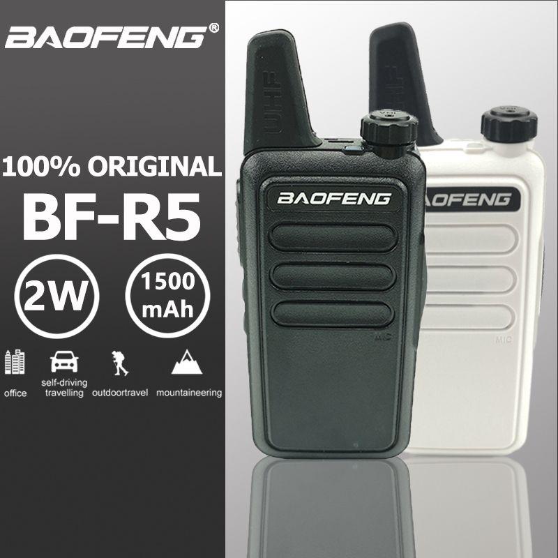 Baofeng BF-R5 Mini Kids Walkie Talkie Hf Transceiver UHF Radio Portable 2W Toy Communicator Handy Talkie Two Way Radio Wln KD-C1