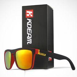 Chico de moda gafas de sol de Kdeam polarizada gafas de sol hombres clásico diseño todo-ajuste espejo Sunglass con la caja de la marca CE