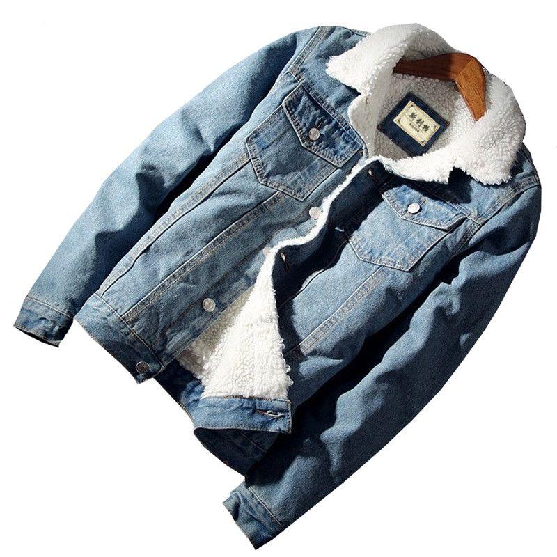 Fur Collar Denim Jacket Men Winter Warm Fleece Jean Jackets Male Casual Copy Sherpa Men's Coats Outwear Cowboy Bomber Clothing