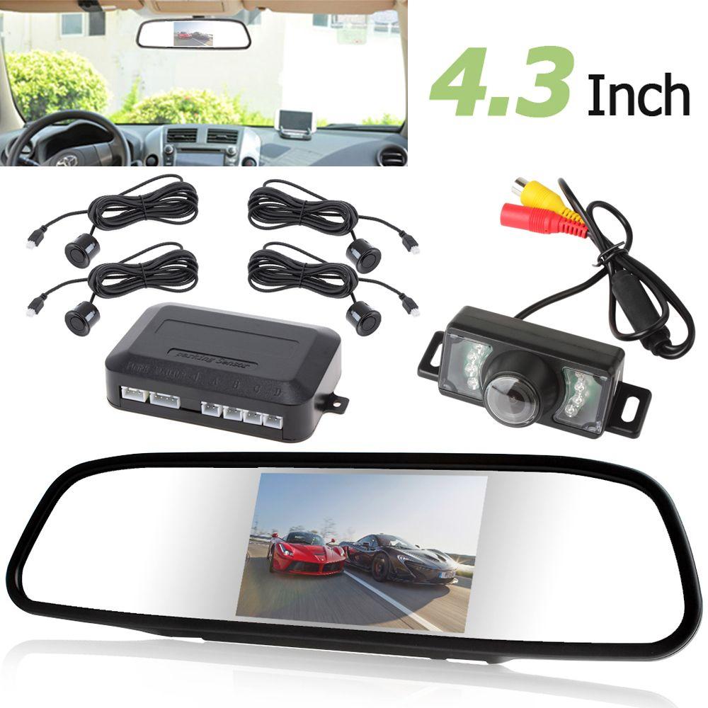4.3 Inch Auto Car Rearview Monitor + Rear View Backup Reverse Camera + 4 x Parking Sensor Buzzer Assistance Radar Parking System
