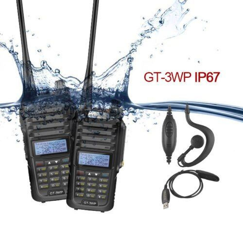 2xBaofeng GT-3WP IP67 V/U Waterproof Dual Band Ham Two Way Radio Walkie Talkie with USB Programming Cable and Car Charger wire