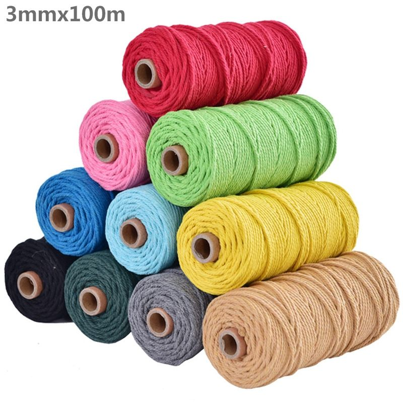 3mm 100% Cotton Cord Colorful Cord Rope Beige Twisted Craft Macrame String DIY Home Textile Decorative supply 100m Top Quality