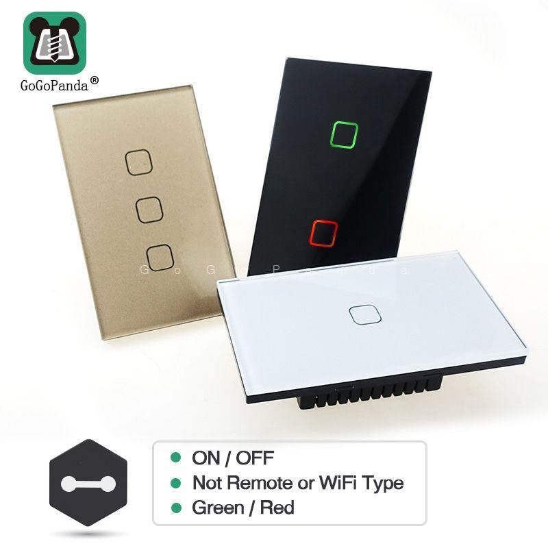 Livraison gratuite US Standard 1 2 3 Gang 1 voie mur lumière contrôleur intelligent domotique tactile commutateur pas à distance Wifi App Type