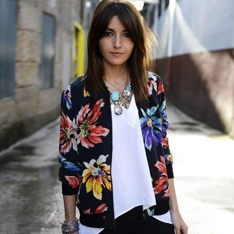 Trendy <font><b>Retro</b></font> Women Flower Print Casual Baseball Sweatshirt Zipper Thin Bomber Jacket Long Sleeves Coat Outwear -MX8