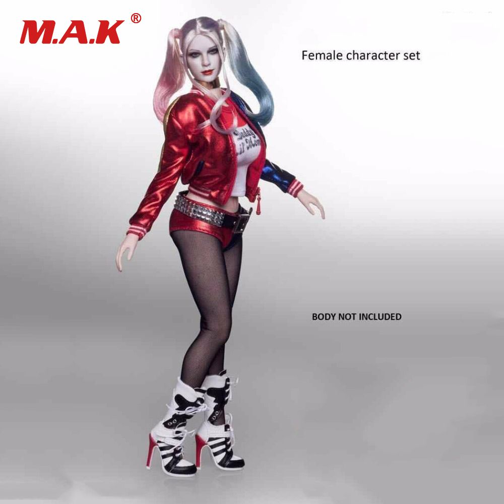 Female Character Set Clothes 1:6 Scale Suicide Squad Joker Harley Quinn Suits & Head Toy Fit for 12 '' Body Figure Accessories