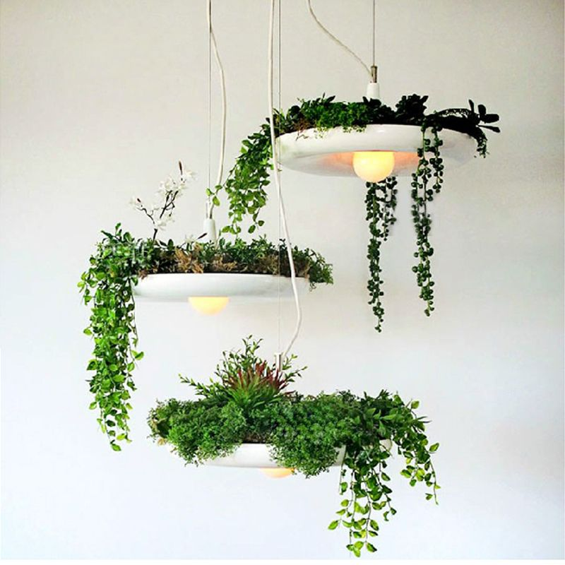 LED Hanging Gardens of Babylon Plants Lamp Pots Potted Nordic Tom Creative Chandelier Lighting Bulb Art Pendant Lamp With Bulb