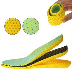 1 pair Yellow&Green Thicken Shock Absorption Breathable Sweat Deodorant Insoles Foot Care Tool